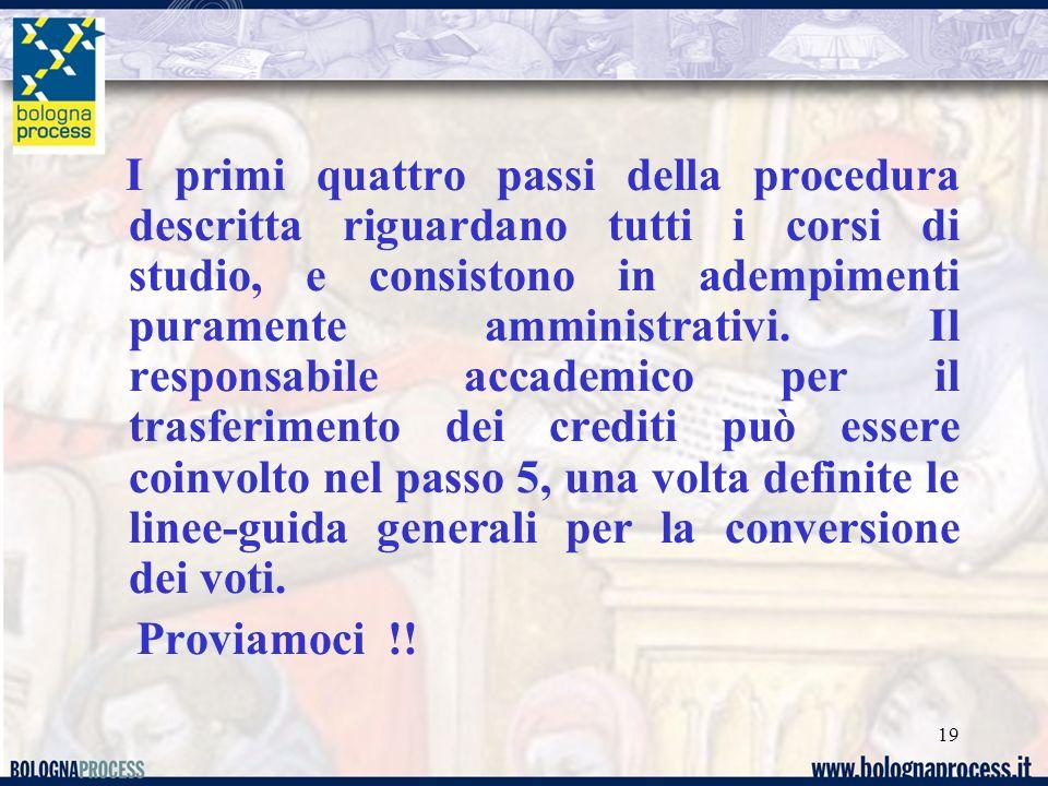 19 I primi quattro passi della procedura descritta riguardano tutti i corsi di studio, e consistono in adempimenti puramente amministrativi.