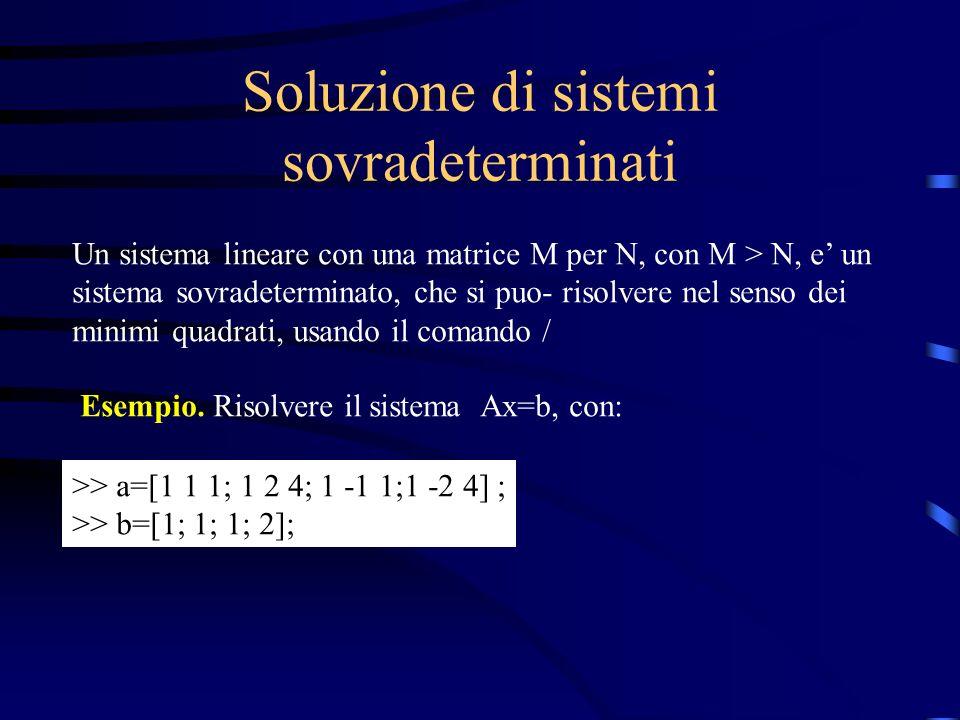 Soluzione di sistemi sovradeterminati Un sistema lineare con una matrice M per N, con M > N, e un sistema sovradeterminato, che si puo- risolvere nel