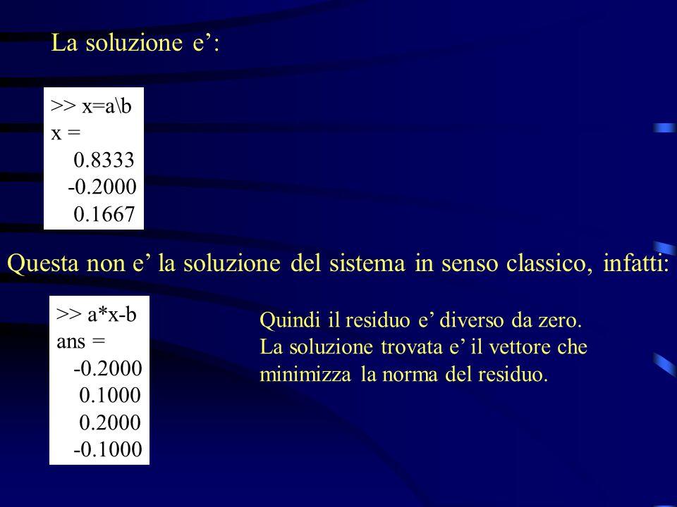 La soluzione e: >> x=a\b x = 0.8333 -0.2000 0.1667 Questa non e la soluzione del sistema in senso classico, infatti: >> a*x-b ans = -0.2000 0.1000 0.2