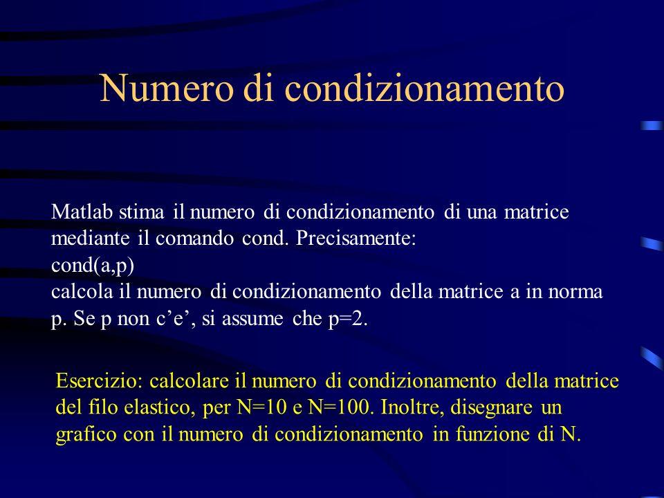 Numero di condizionamento Matlab stima il numero di condizionamento di una matrice mediante il comando cond. Precisamente: cond(a,p) calcola il numero
