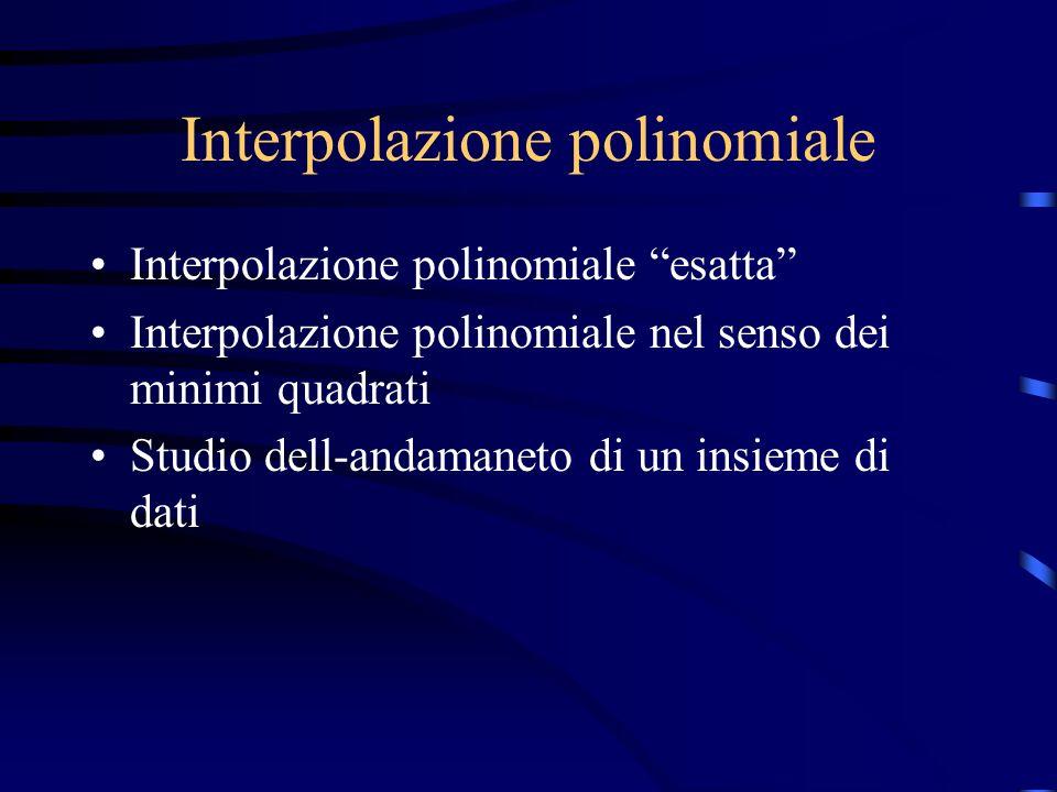 Interpolazione polinomiale Interpolazione polinomiale esatta Interpolazione polinomiale nel senso dei minimi quadrati Studio dell-andamaneto di un ins