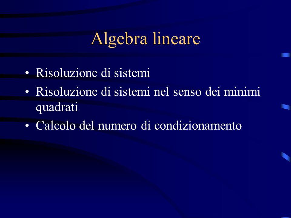 Algebra lineare Risoluzione di sistemi Risoluzione di sistemi nel senso dei minimi quadrati Calcolo del numero di condizionamento