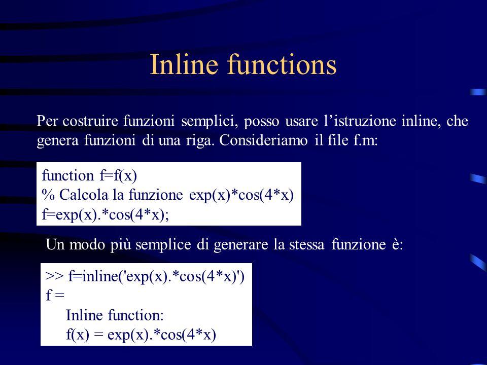 Inline functions Per costruire funzioni semplici, posso usare listruzione inline, che genera funzioni di una riga. Consideriamo il file f.m: function