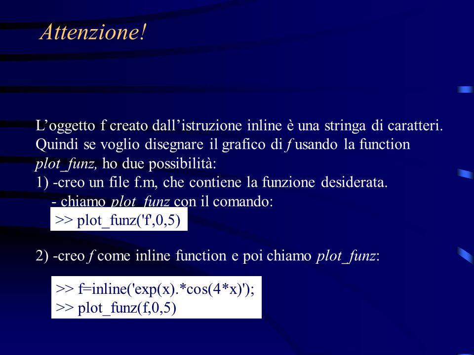 Attenzione! Loggetto f creato dallistruzione inline è una stringa di caratteri. Quindi se voglio disegnare il grafico di f usando la function plot_fun