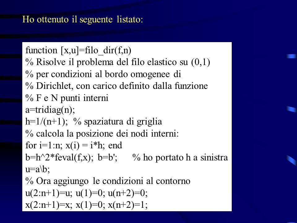 function [x,u]=filo_dir(f,n) % Risolve il problema del filo elastico su (0,1) % per condizioni al bordo omogenee di % Dirichlet, con carico definito d