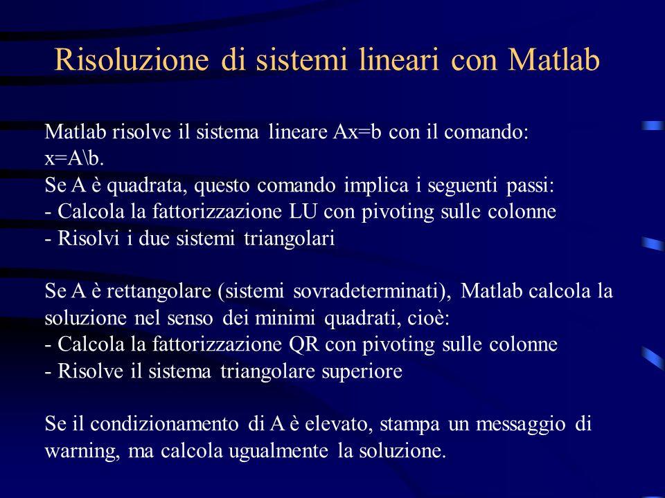 Risoluzione di sistemi lineari con Matlab Matlab risolve il sistema lineare Ax=b con il comando: x=A\b. Se A è quadrata, questo comando implica i segu
