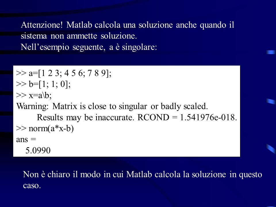 Attenzione! Matlab calcola una soluzione anche quando il sistema non ammette soluzione. Nellesempio seguente, a è singolare: >> a=[1 2 3; 4 5 6; 7 8 9