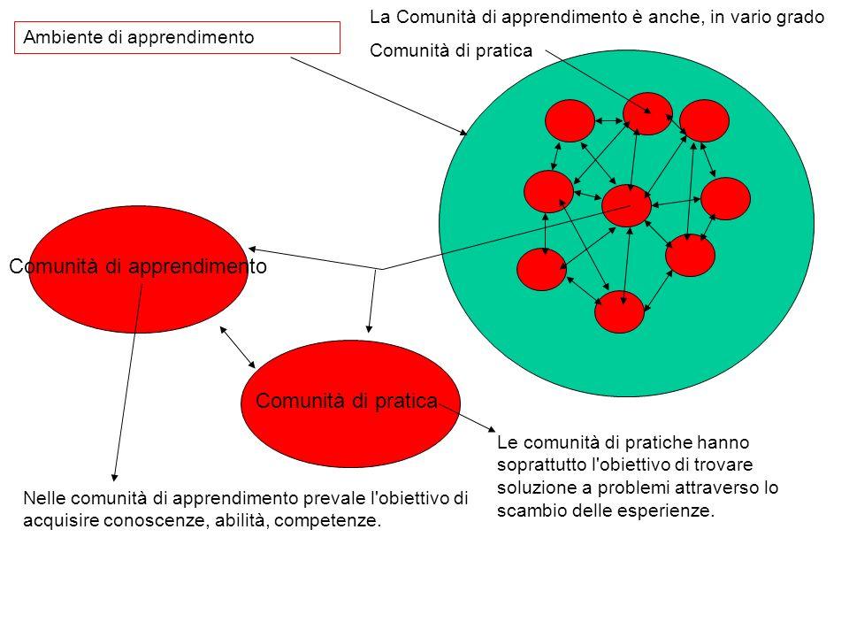 Ambiente di apprendimento Le comunità di pratiche hanno soprattutto l'obiettivo di trovare soluzione a problemi attraverso lo scambio delle esperienze