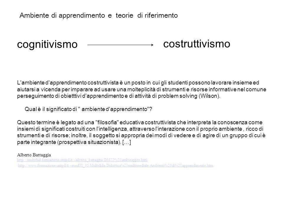Ambiente di apprendimento e teorie di riferimento cognitivismo costruttivismo L'ambiente d'apprendimento costruttivista è un posto in cui gli studenti