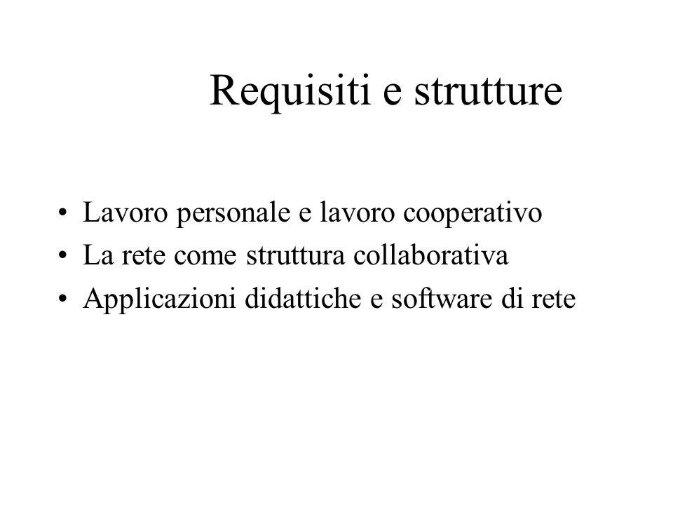 Requisiti e strutture Lavoro personale e lavoro cooperativo La rete come struttura collaborativa Applicazioni didattiche e software di rete