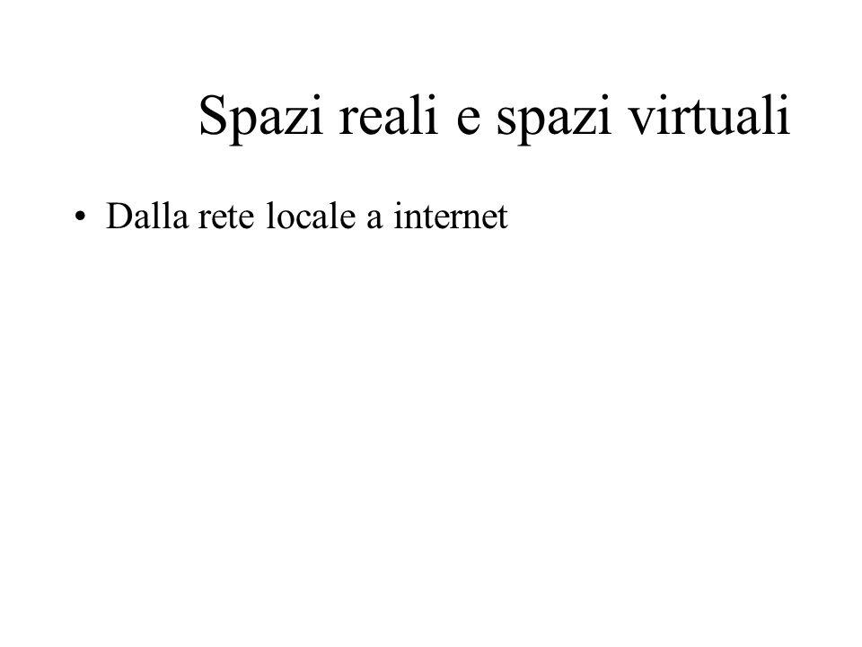 Spazi reali e spazi virtuali Dalla rete locale a internet