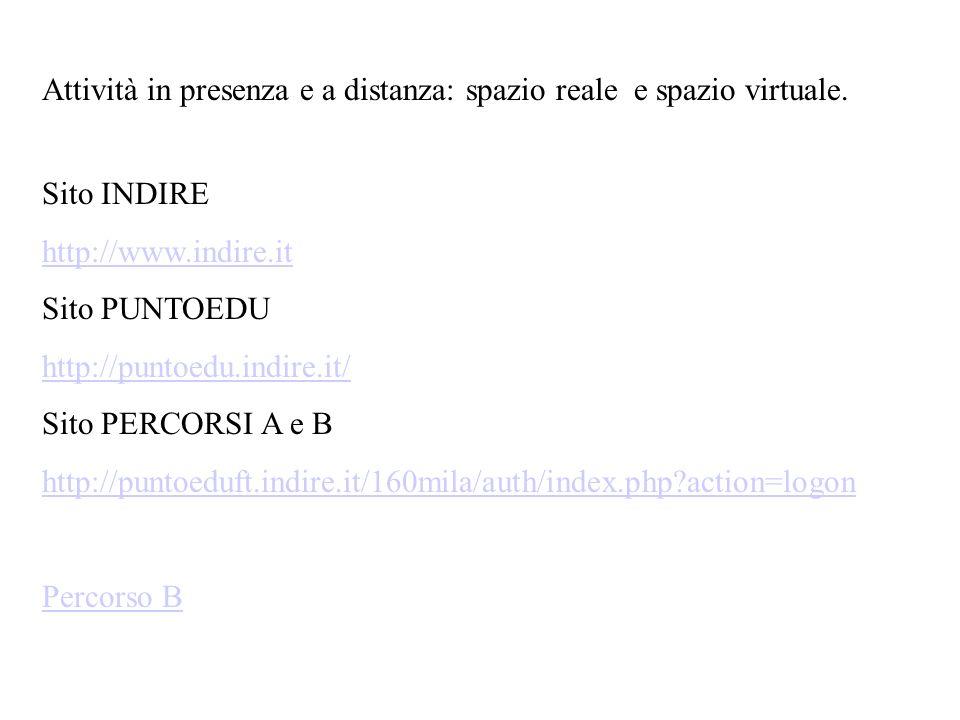 Attività in presenza e a distanza: spazio reale e spazio virtuale. Sito INDIRE http://www.indire.it Sito PUNTOEDU http://puntoedu.indire.it/ Sito PERC