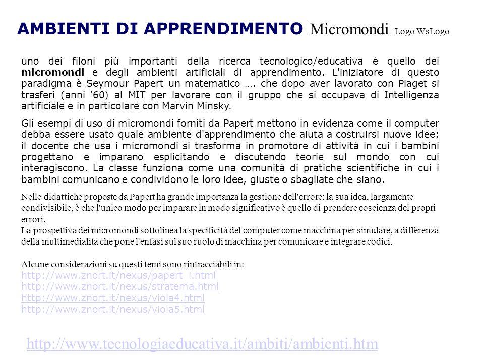 AMBIENTI DI APPRENDIMENTO Micromondi Logo WsLogo http://www.tecnologiaeducativa.it/ambiti/ambienti.htm uno dei filoni più importanti della ricerca tec