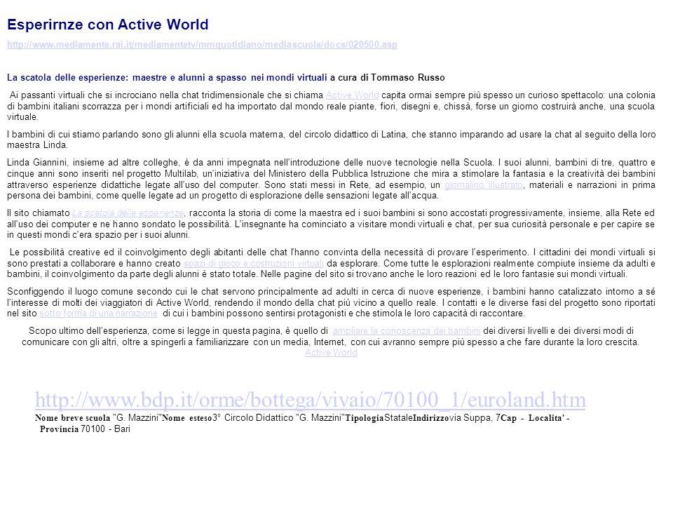 Esperirnze con Active World http://www.mediamente.rai.it/mediamentetv/mmquotidiano/mediascuola/docs/020500.asp La scatola delle esperienze: maestre e