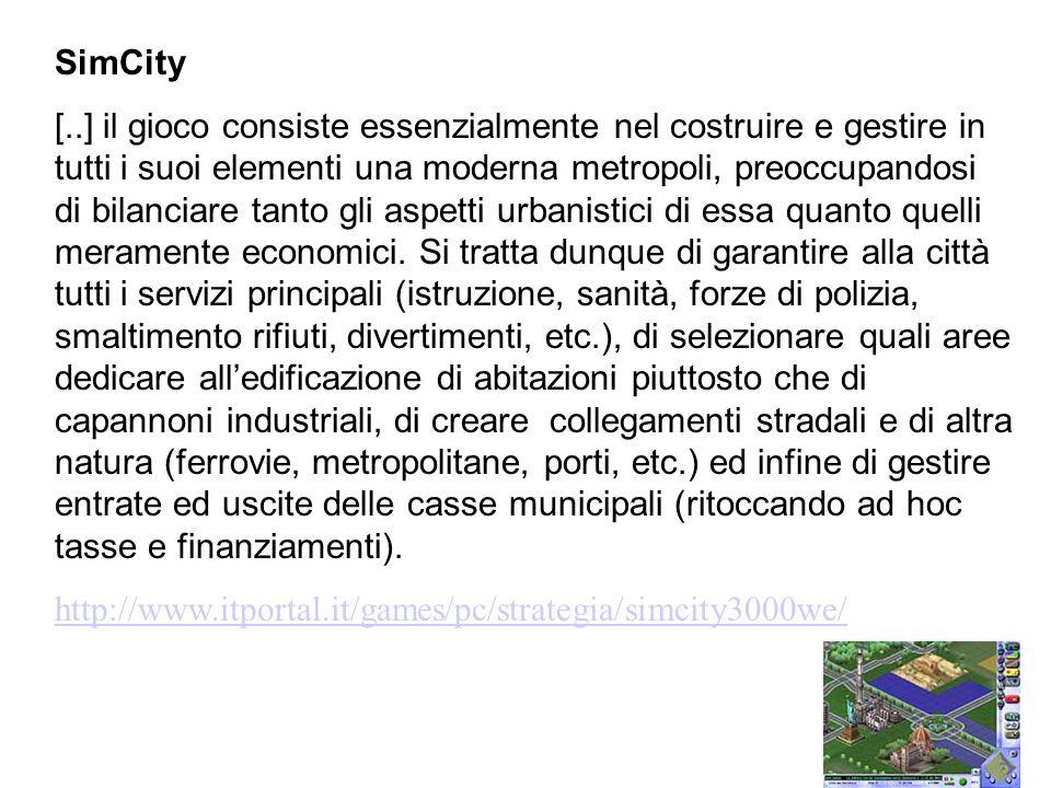 SimCity [..] il gioco consiste essenzialmente nel costruire e gestire in tutti i suoi elementi una moderna metropoli, preoccupandosi di bilanciare tan