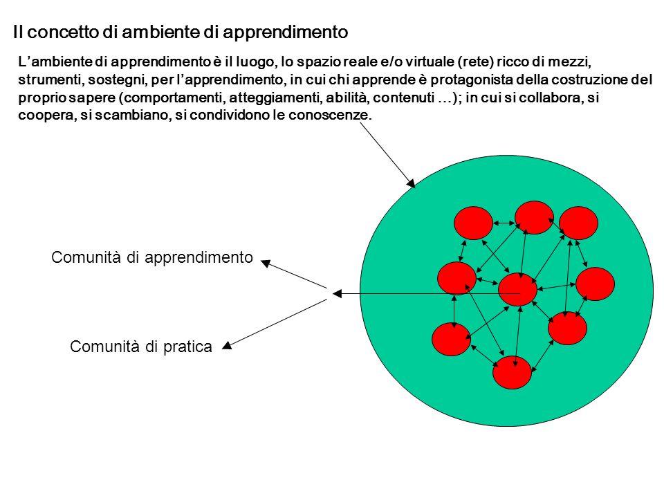 Ambiente di apprendimento Le comunità di pratiche hanno soprattutto l obiettivo di trovare soluzione a problemi attraverso lo scambio delle esperienze.