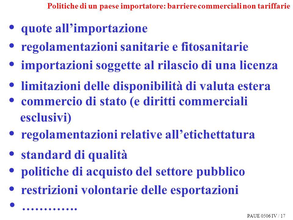 PAUE 0506 IV / 17 quote allimportazione regolamentazioni sanitarie e fitosanitarie importazioni soggette al rilascio di una licenza limitazioni delle