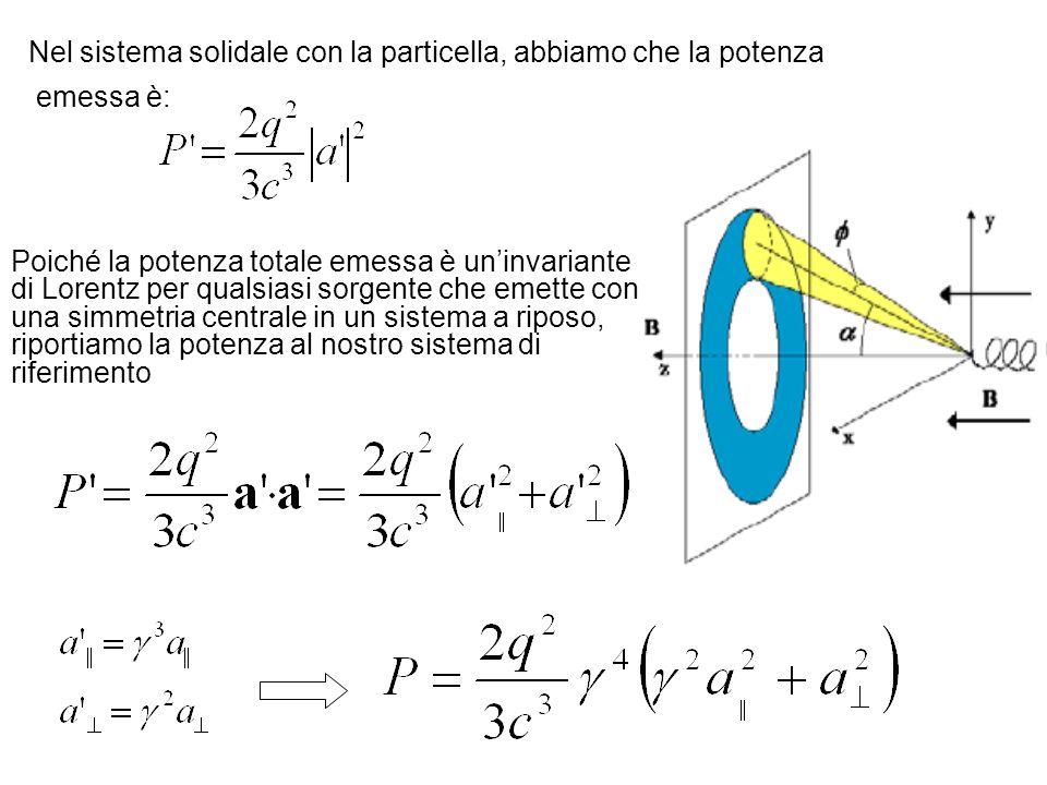 Nel sistema solidale con la particella, abbiamo che la potenza emessa è: Poiché la potenza totale emessa è uninvariante di Lorentz per qualsiasi sorge