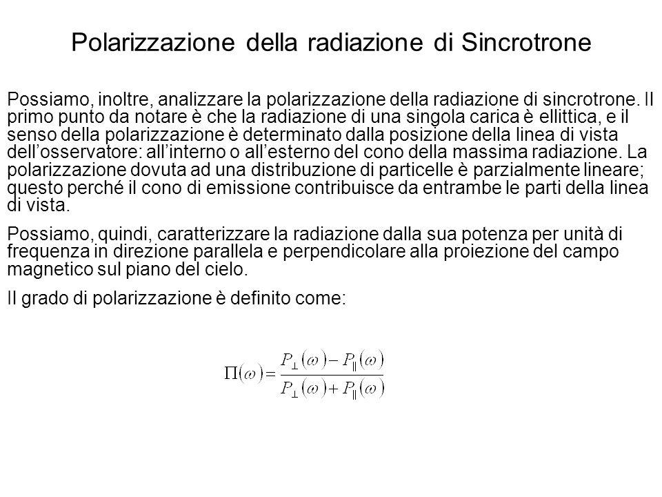Polarizzazione della radiazione di Sincrotrone Possiamo, inoltre, analizzare la polarizzazione della radiazione di sincrotrone. Il primo punto da nota