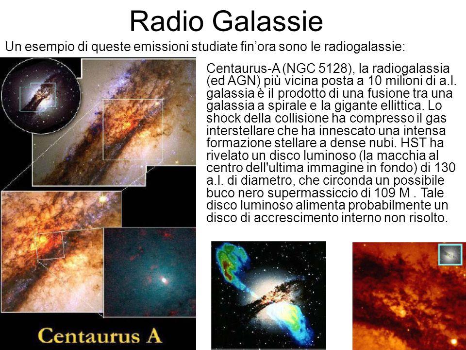 Radio Galassie Un esempio di queste emissioni studiate finora sono le radiogalassie: Centaurus-A (NGC 5128), la radiogalassia (ed AGN) più vicina post