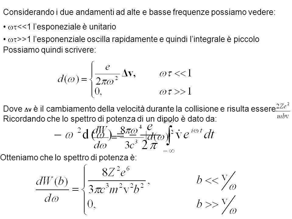 Considerando i due andamenti ad alte e basse frequenze possiamo vedere: <<1 lesponeziale è unitario >>1 lesponenziale oscilla rapidamente e quindi lin