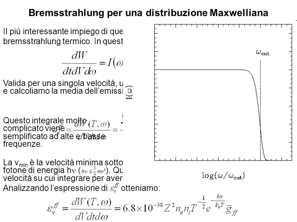 Radiazione di elettroni con distribuzione di potenza La relazione P( ) dipende da solo tramite c.