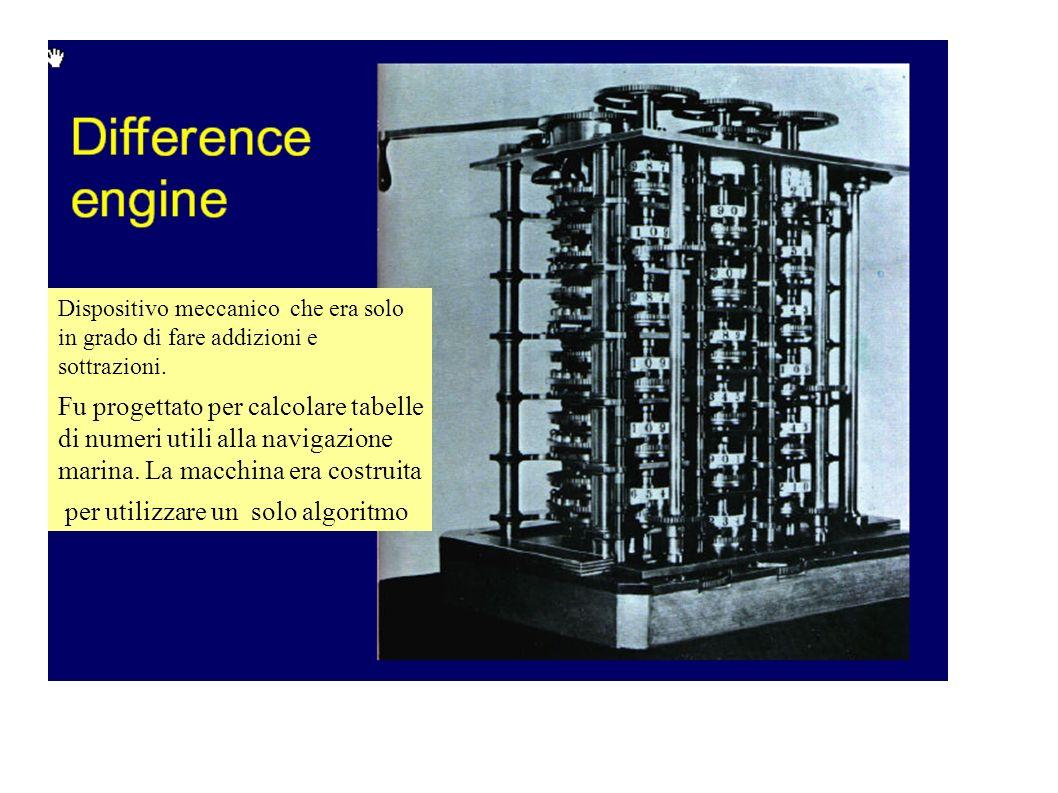 Dispositivo meccanico che era solo in grado di fare addizioni e sottrazioni. Fu progettato per calcolare tabelle di numeri utili alla navigazione mari