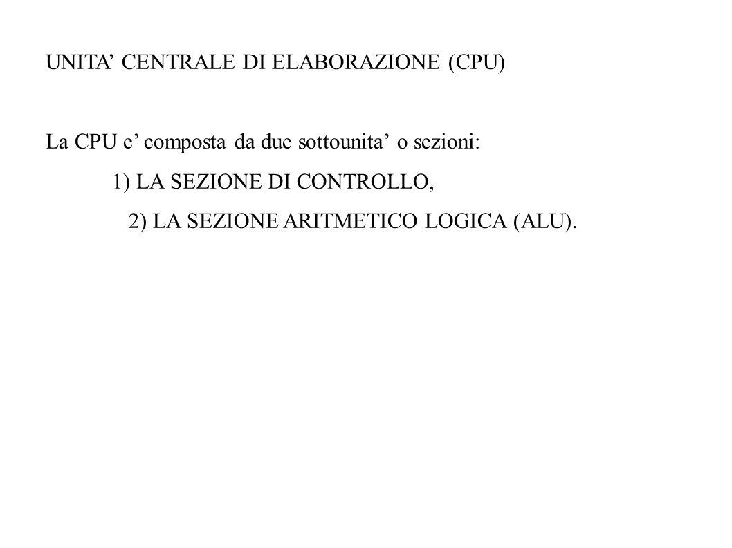 UNITA CENTRALE DI ELABORAZIONE (CPU) La CPU e composta da due sottounita o sezioni: 1) LA SEZIONE DI CONTROLLO, 2) LA SEZIONE ARITMETICO LOGICA (ALU).