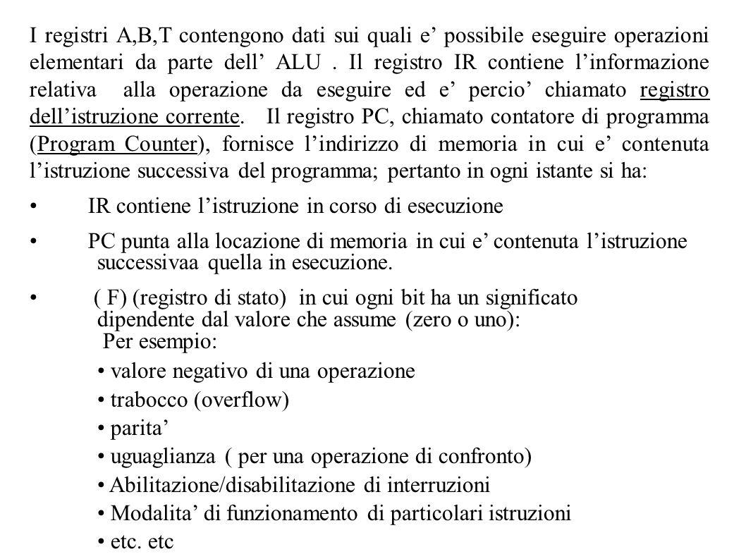 I registri A,B,T contengono dati sui quali e possibile eseguire operazioni elementari da parte dell ALU. Il registro IR contiene linformazione relativ