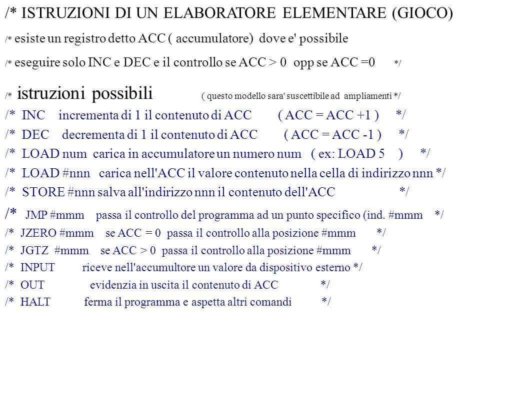 /* ISTRUZIONI DI UN ELABORATORE ELEMENTARE (GIOCO) /* esiste un registro detto ACC ( accumulatore) dove e' possibile /* eseguire solo INC e DEC e il c