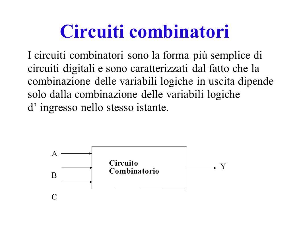 I circuiti combinatori sono la forma più semplice di circuiti digitali e sono caratterizzati dal fatto che la combinazione delle variabili logiche in