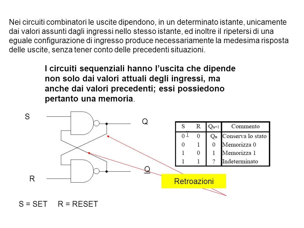 S R Q Q Nei circuiti combinatori le uscite dipendono, in un determinato istante, unicamente dai valori assunti dagli ingressi nello stesso istante, ed