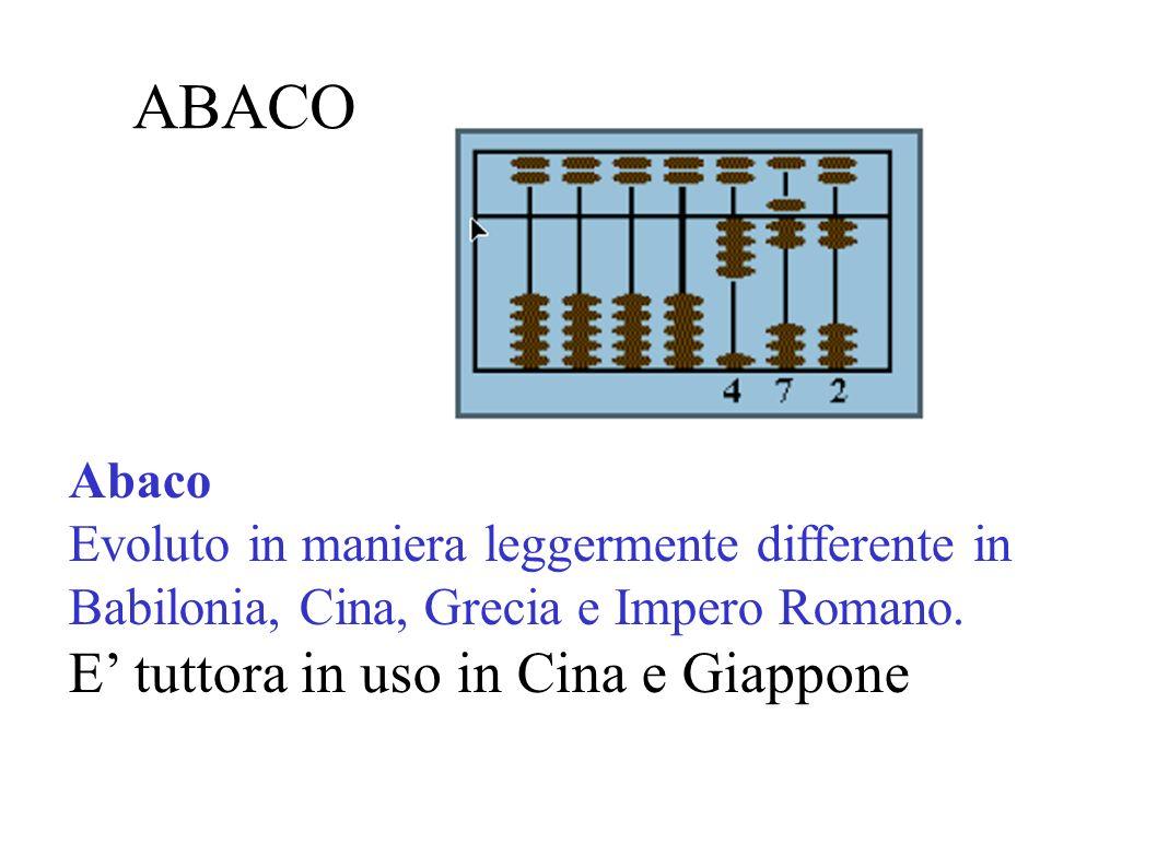 ABACO Abaco Evoluto in maniera leggermente differente in Babilonia, Cina, Grecia e Impero Romano. E tuttora in uso in Cina e Giappone