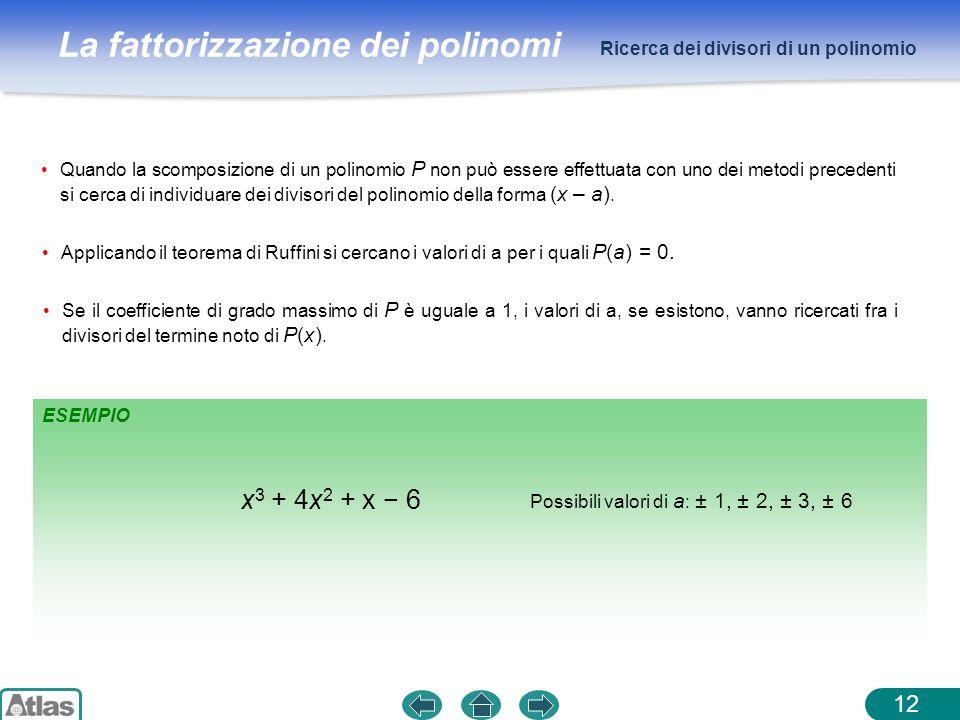 La fattorizzazione dei polinomi ESEMPIO Ricerca dei divisori di un polinomio 12 Quando la scomposizione di un polinomio P non può essere effettuata co