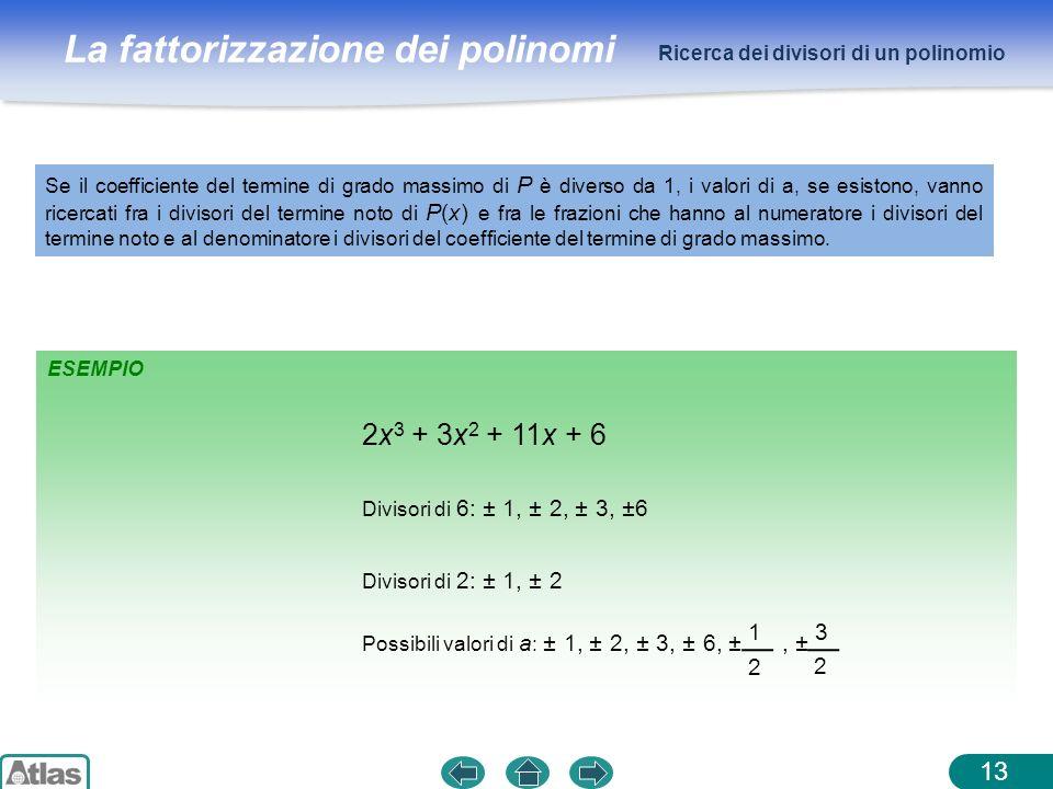 La fattorizzazione dei polinomi Ricerca dei divisori di un polinomio 13 Se il coefficiente del termine di grado massimo di P è diverso da 1, i valori
