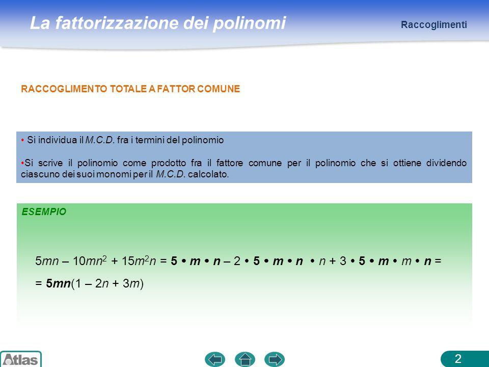 La fattorizzazione dei polinomi Raccoglimenti 2 RACCOGLIMENTO TOTALE A FATTOR COMUNE 5mn – 10mn 2 + 15m 2 n = 5 m n – 2 5 m n n + 3 5 m m n = = 5mn(1
