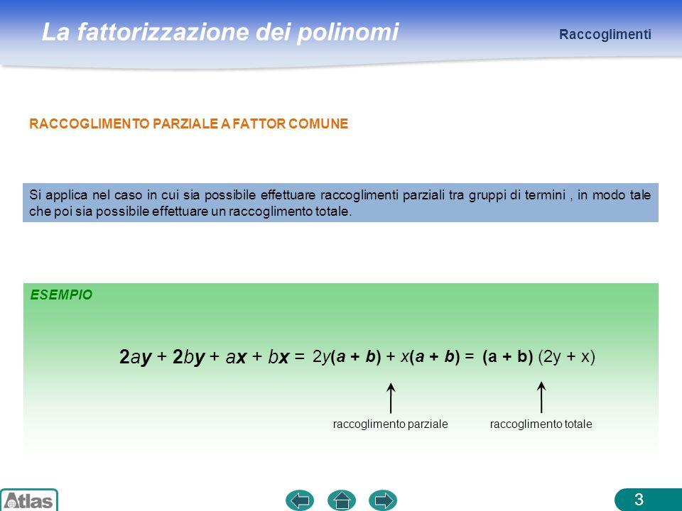 La fattorizzazione dei polinomi ESEMPIO Raccoglimenti 3 RACCOGLIMENTO PARZIALE A FATTOR COMUNE Si applica nel caso in cui sia possibile effettuare rac