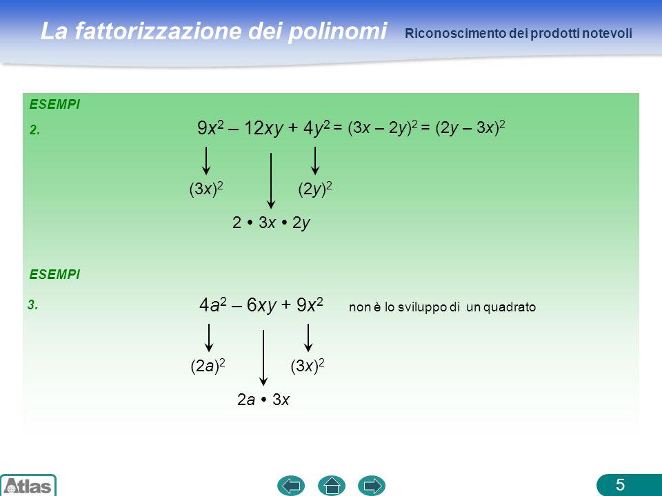 La fattorizzazione dei polinomi ESEMPI Riconoscimento dei prodotti notevoli 5 9x 2 – 12xy + 4y 2 (3x) 2 (2y) 2 2 3x 2y 4a 2 – 6xy + 9x 2 (2a) 2 (3x) 2