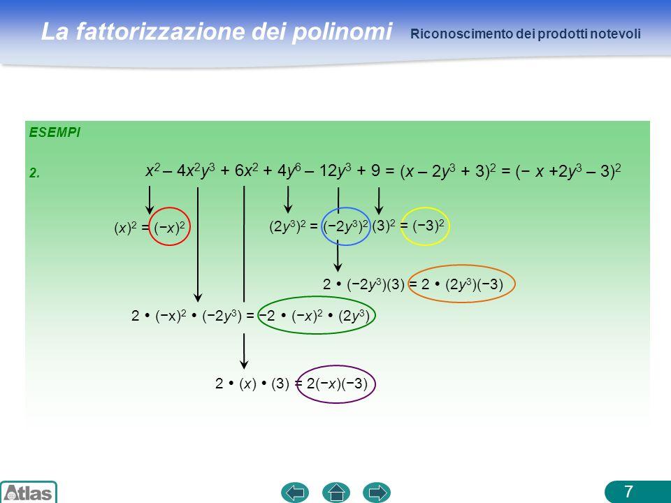 La fattorizzazione dei polinomi ESEMPI Riconoscimento dei prodotti notevoli 7 x 2 – 4x 2 y 3 + 6x 2 + 4y 6 – 12y 3 + 9 (x) 2 = (x) 2 2 (x) 2 (2y 3 ) =