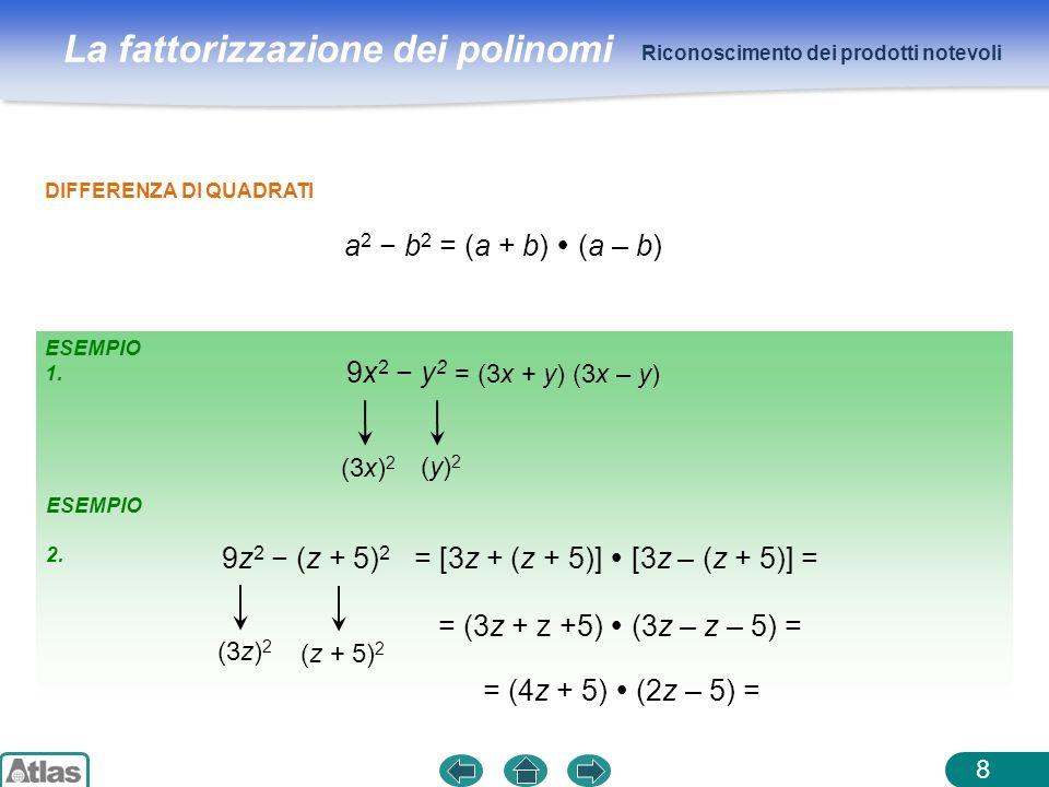 La fattorizzazione dei polinomi ESEMPIO 1. Riconoscimento dei prodotti notevoli 8 DIFFERENZA DI QUADRATI a 2 b 2 = (a + b) (a – b) 9x 2 y 2 (3x) 2 9z