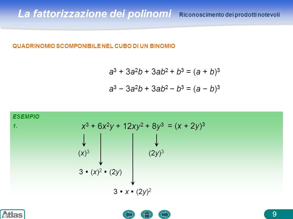 La fattorizzazione dei polinomi ESEMPIO 1. Riconoscimento dei prodotti notevoli 9 QUADRINOMIO SCOMPONIBILE NEL CUBO DI UN BINOMIO a 3 + 3a 2 b + 3ab 2