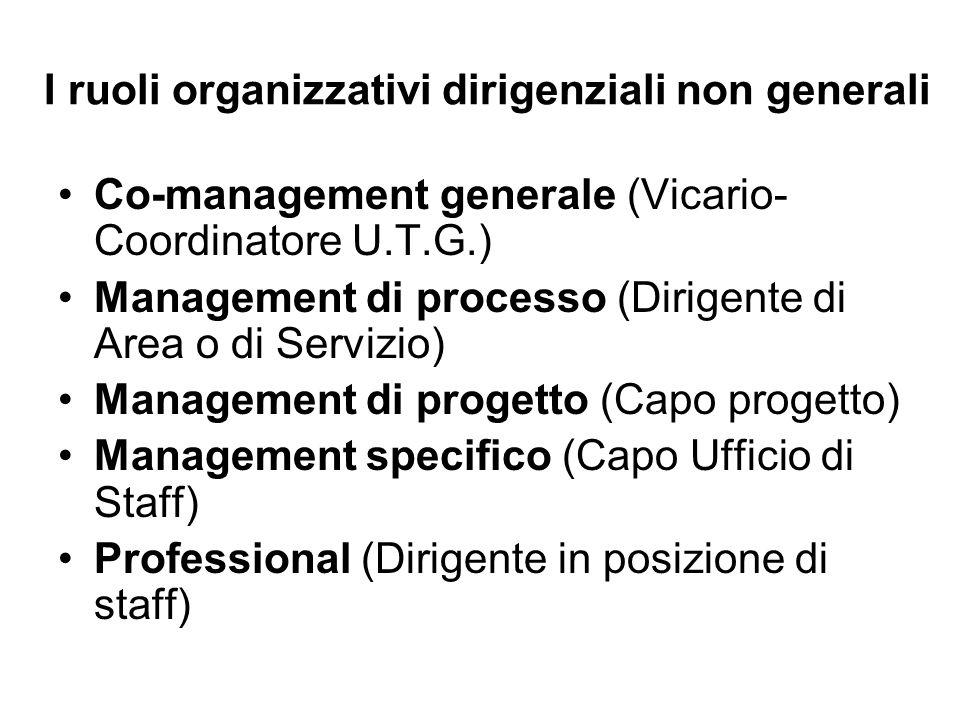 I ruoli organizzativi dirigenziali non generali Co-management generale (Vicario- Coordinatore U.T.G.) Management di processo (Dirigente di Area o di Servizio) Management di progetto (Capo progetto) Management specifico (Capo Ufficio di Staff) Professional (Dirigente in posizione di staff)