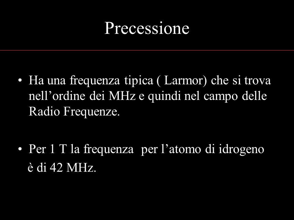 Precessione Ha una frequenza tipica ( Larmor) che si trova nellordine dei MHz e quindi nel campo delle Radio Frequenze. Per 1 T la frequenza per latom