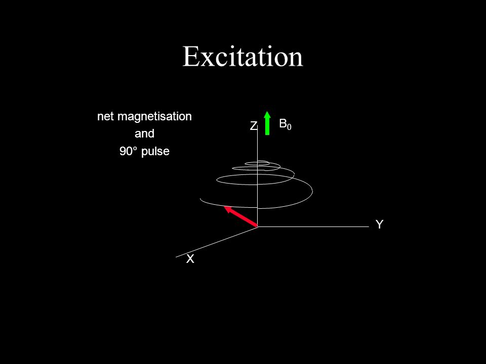 Excitation X Y Z B0B0 net magnetisation and 90° pulse