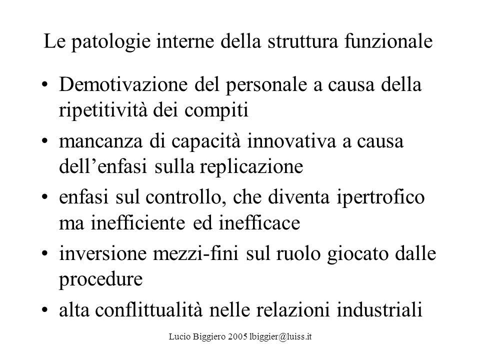 Le patologie interne della struttura funzionale Demotivazione del personale a causa della ripetitività dei compiti mancanza di capacità innovativa a c