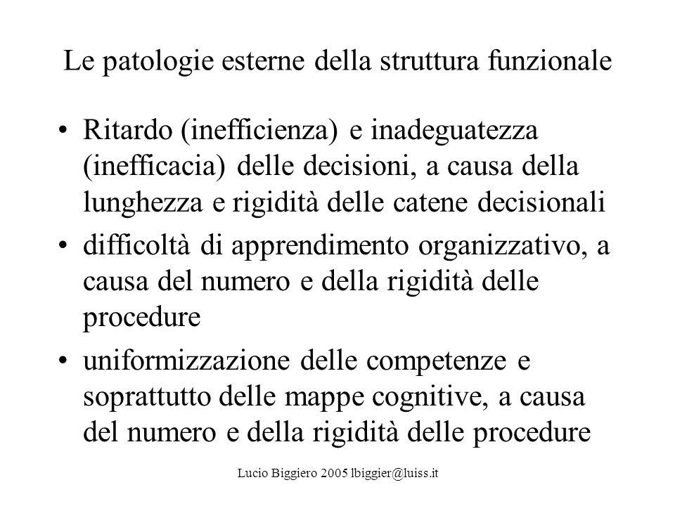 Lucio Biggiero 2005 lbiggier@luiss.it Le patologie esterne della struttura funzionale Ritardo (inefficienza) e inadeguatezza (inefficacia) delle decis