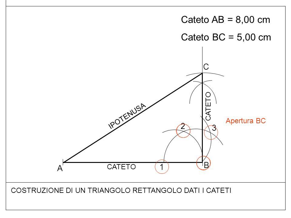 Cateto AB = 8,00 cm Cateto BC = 5,00 cm COSTRUZIONE DI UN TRIANGOLO RETTANGOLO DATI I CATETI A B 1 2 3 C CATETO IPOTENUSA Apertura BC