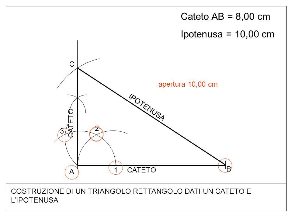 COSTRUZIONE DI UN TRIANGOLO RETTANGOLO DATI UN CATETO E LIPOTENUSA Cateto AB = 8,00 cm Ipotenusa = 10,00 cm A B 1 2 3 C CATETO IPOTENUSA apertura 10,00 cm