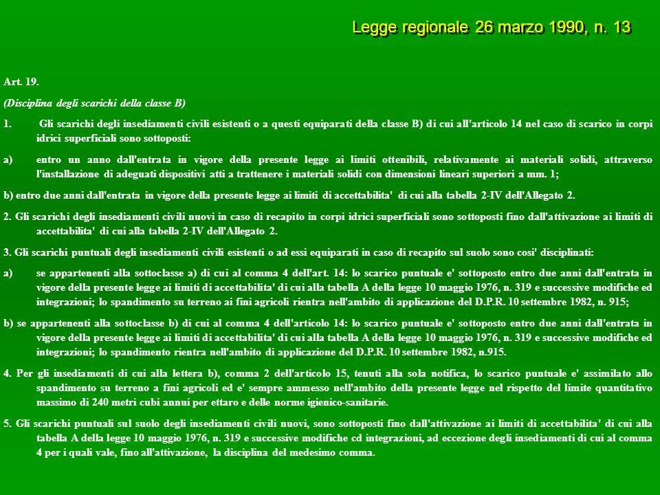 Legge regionale 26 marzo 1990, n. 13 Art. 19. (Disciplina degli scarichi della classe B) 1.