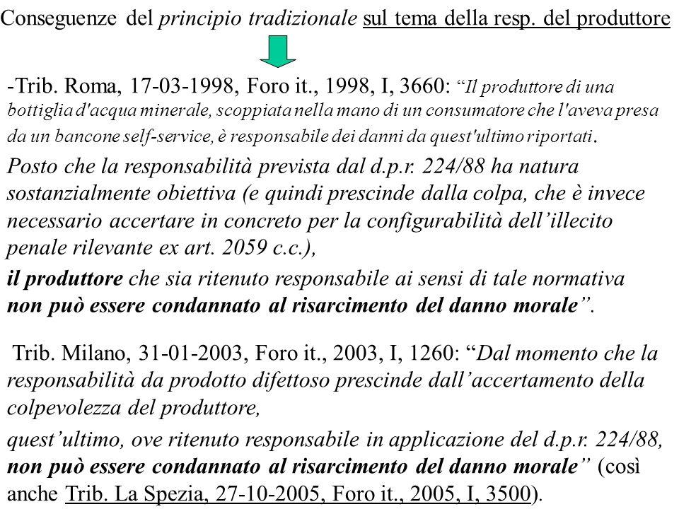 -Trib. Roma, 17-03-1998, Foro it., 1998, I, 3660:Il produttore di una bottiglia d'acqua minerale, scoppiata nella mano di un consumatore che l'aveva p